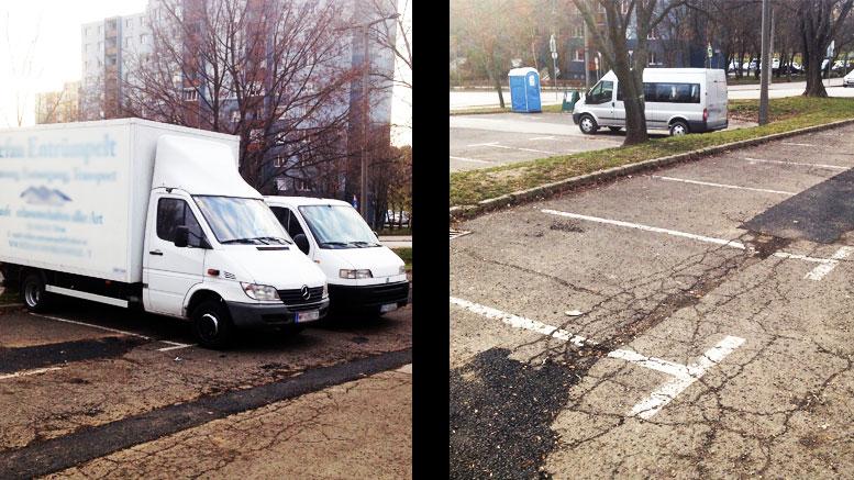 kátyúzás a lakótelepi parkolóban