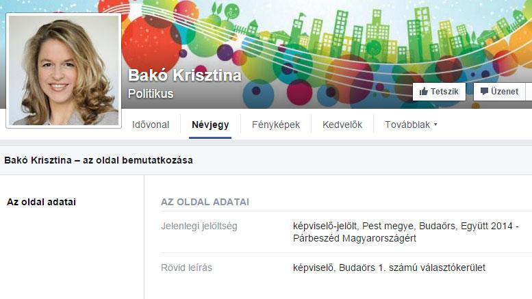 Bakó Krisztina Facebook oldala