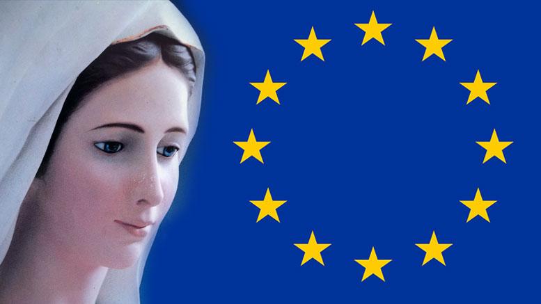 Szűz Mária 12 aranycsillagból álló koronája nyomán készült jelkép díszíti az Európai Unió zászlaját.