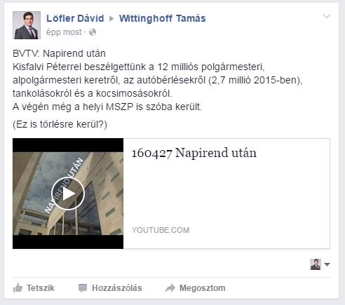 Wittinghoff oldalán a TV vita