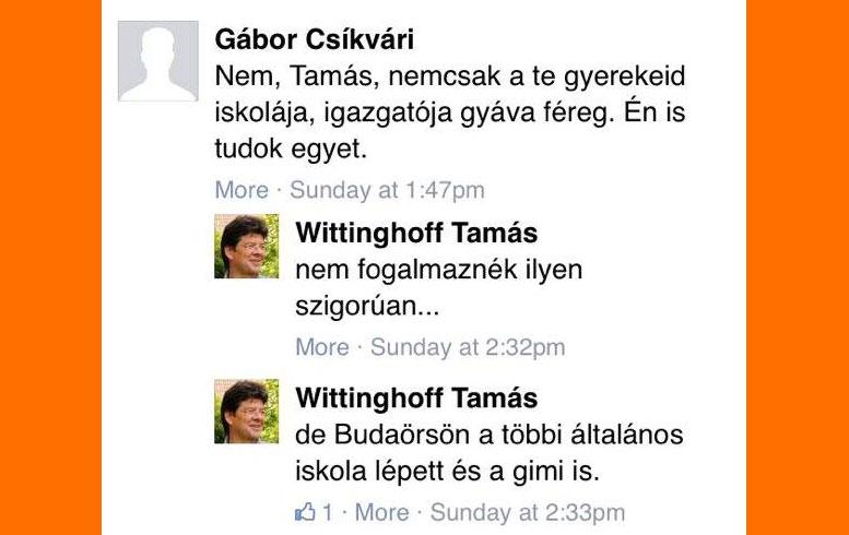Wittinghoff Tamás facebook oldala