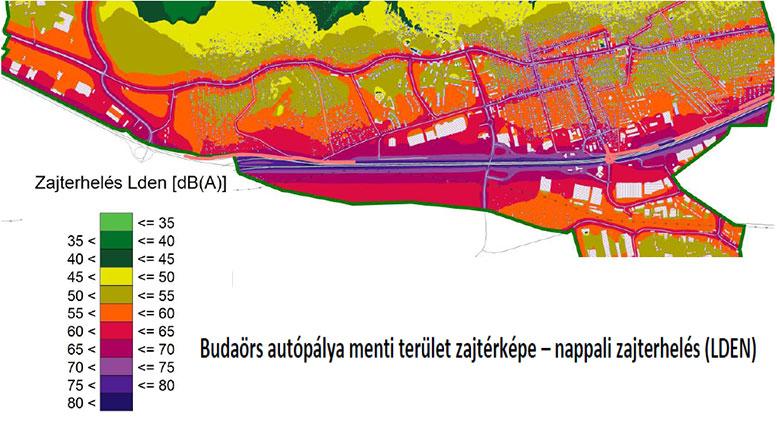 Budaörs autópálya menti terület zajtérképe – nappali zajterhelés (LDEN) Budaörs autópálya