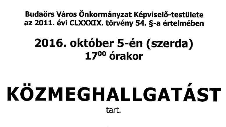 Közmeghallgatás lesz Budaörsön, október 5-én