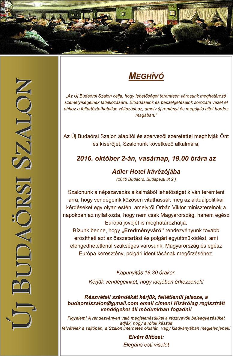 Eredmény váró, Új Budaörsi Szalon Meghívó
