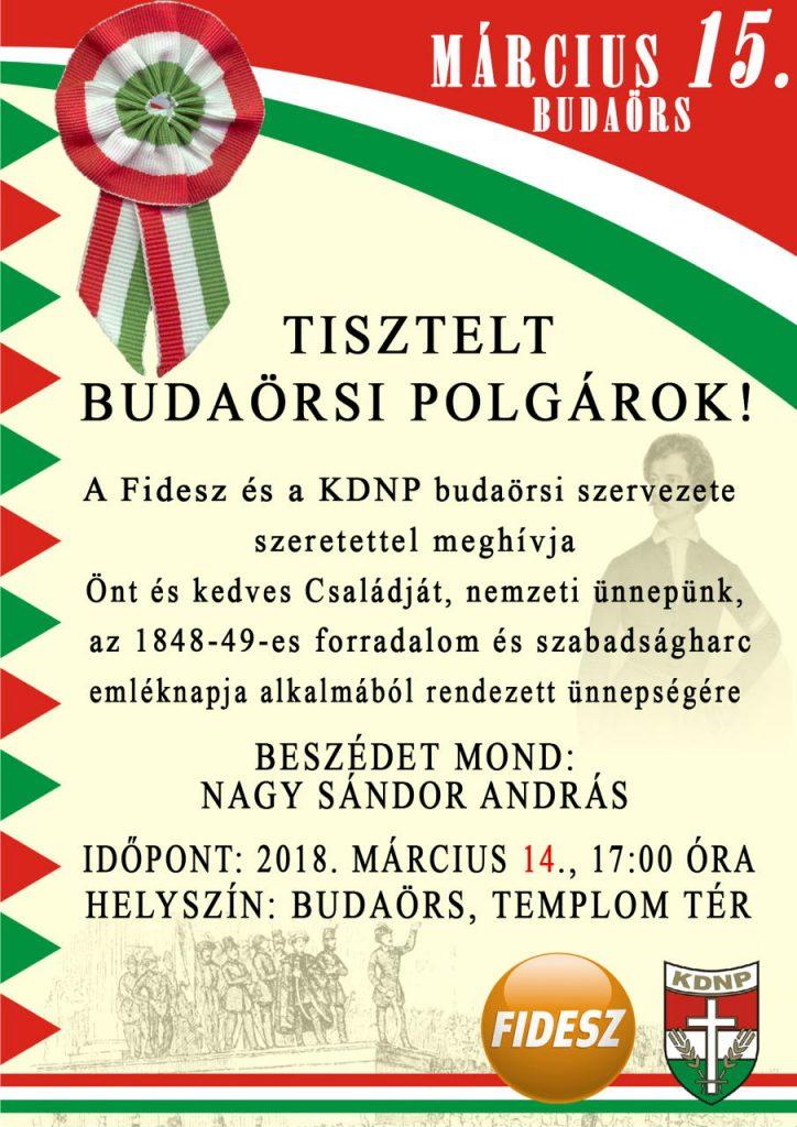 Március 15-ei ünnepség Budaörsön!