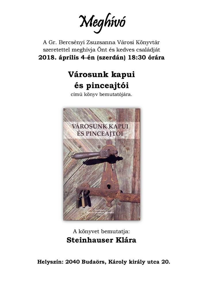 Városunk kapui, pinceajtói könyvbemutató április 4-én