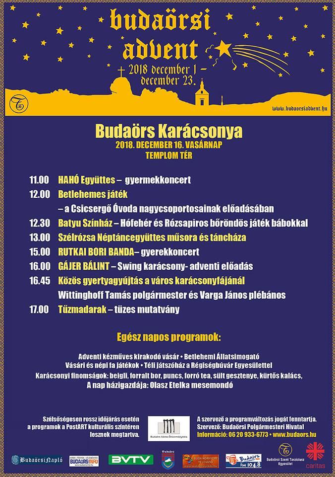 Budaörs Karácsonya 2018. program